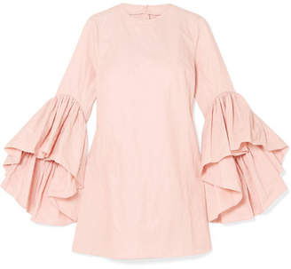 Marques Almeida Marques' Almeida - Ruffled Crinkled-taffeta Mini Dress - Pastel pink