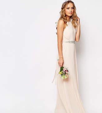 TFNC WEDDING High Neck Pleated Maxi Dress