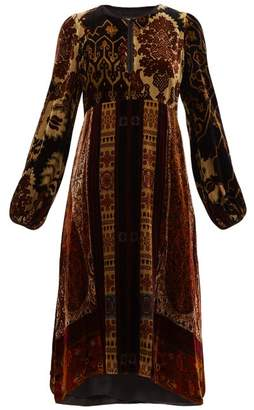 Etro Nottinghamshire Paisley Print Velvet Dress - Womens - Black Multi