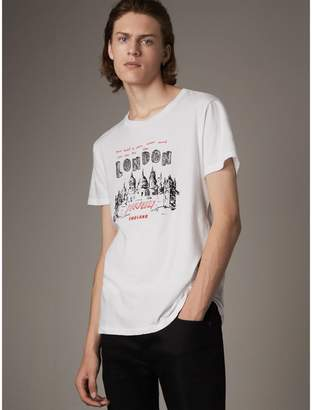 Burberry Skyline Print Cotton T-shirt