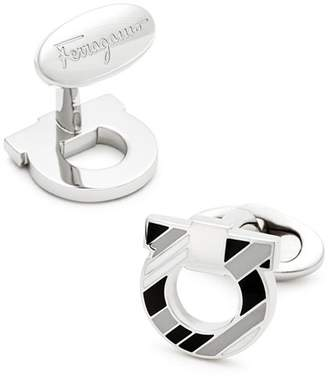 Salvatore Ferragamo Gancini Striped Enamel Cufflinks