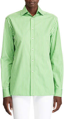 Ralph Lauren Rowland Pinstriped Cotton Boyfriend Shirt, Lime