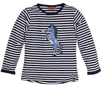 Salt&Pepper Salt and Pepper Girl's Longsleeve Forever Stripes T-Shirt, (Dutch Blue 465), 18-24 Months