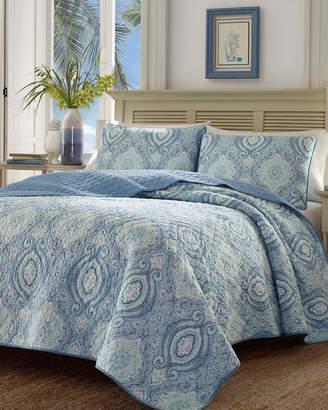 Tommy Bahama Revman Turtle Cove Caribbean Blue Quilt Set