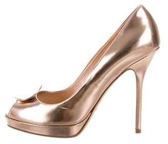 Christian Dior Metallic Peep-Toe Pumps