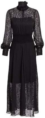 Akris Punto Dot Devore Sheer Ruched Midi Dress