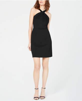 INC International Concepts I.n.c. Petite Crossed-Neck Bodycon Dress