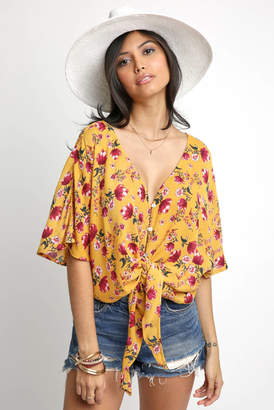 Patrons Of Peace Floral Tie Front Button Down Blouse