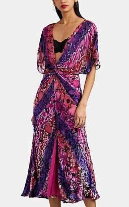 Prabal Gurung Women's Striped Silk-Blend Fil Coupé Maxi Dress - Violet Multi