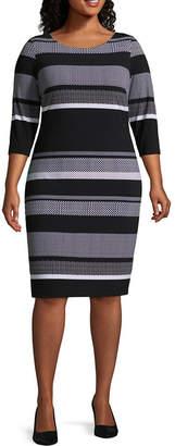 Melrose 3/4 Sleeve Stripe Shift Dress - Plus