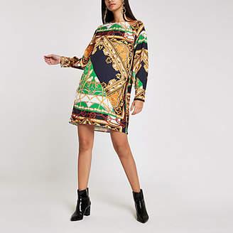 River Island Womens Navy baroque print long sleeve swing dress