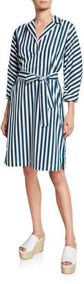 Lafayette 148 New York Laticia Striped Shift Self-Tie Dress