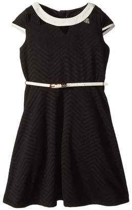 Us Angels Cap Sleeve Fit Flare Textured Knit Dress with Cut Outs Girl's Dress