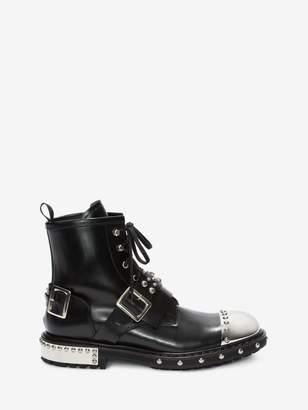 Alexander McQueen Hobnail Metal Toe Cap Boot