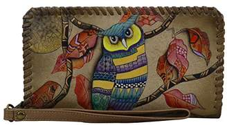 Anuschka Hand Painted Leather Women'S Zip Around Wristlet with Removable Strap