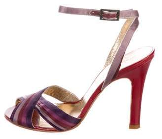 Marc Jacobs Satin Round-Toe Sandals Purple Satin Round-Toe Sandals