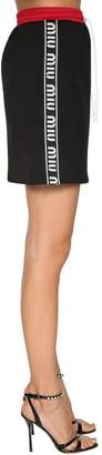 Miu Miu Cotton Mini Skirt W/ Logo Bands