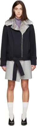 Carven Navy Fur Biker Jacket