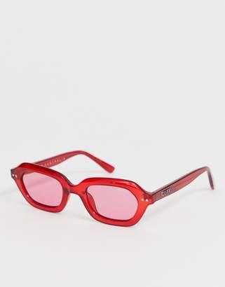 Quay Austrlia anything goes slim retro sunglasses in red