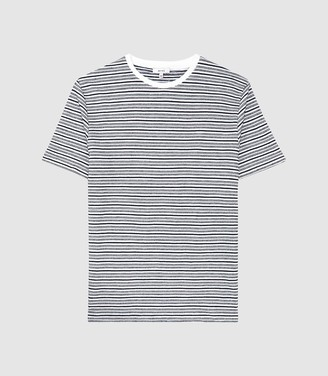 Reiss Exeter - Striped Towelling T-shirt in White/navy
