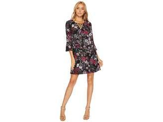 Jessica Simpson Printed Lace-Up Shift Dress Women's Dress