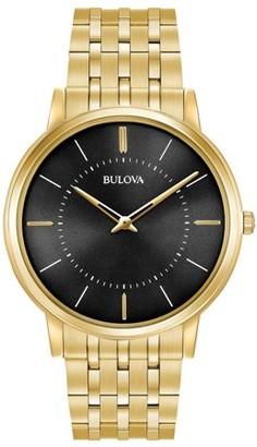Bulova 97A127 Men's Classic Black Dial Yellow Gold Plated Steel Bracelet Ultra-Slim Watch