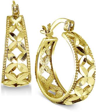 "Giani Bernini Small Floral Hoop Earrings, 0.75"""
