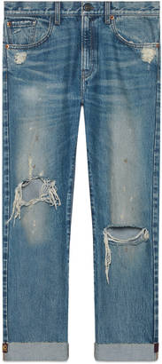 Denim pant with embroidered ribbon $1,100 thestylecure.com