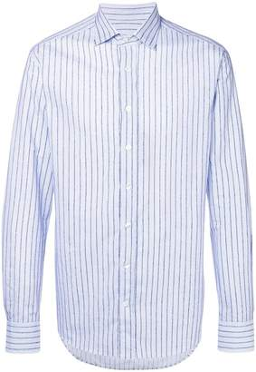 Etro stitched striped print shirt