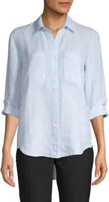Pure Navy Classic Linen Button-Down Shirt