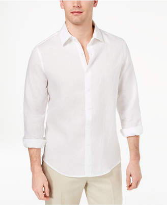 Tasso Elba Men's Long Sleeve Linen Shirt, Created for Macy's