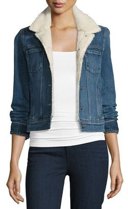 Paige Denim Leo Denim Jacket w/Faux-Shearling Lining, Hyperion $279 thestylecure.com