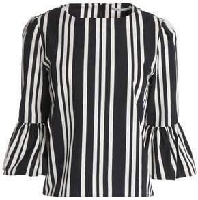 Alice + Olivia Bernice Striped Cotton-Poplin Top