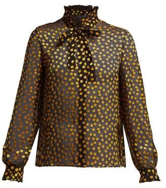 Saloni Emile Fil Coupe Silk Blend Georgette Blouse - Womens - Black Yellow