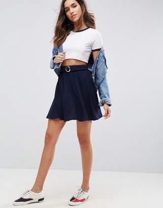 Asos Skater Mini Skirt With Circle Belt