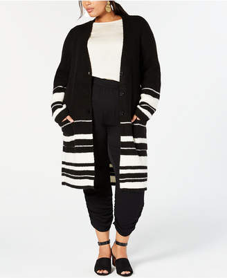 Style&Co. Style & Co Plus Size Half-Striped Long Cardigan Sweater