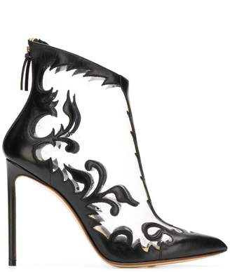 Francesco Russo floral embroidered transparent booties