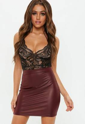 Missguided Burgundy Matte Faux Leather Mini Skirt