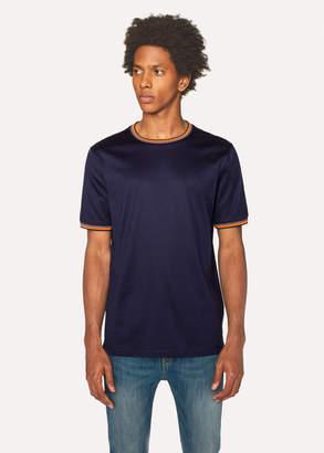 Paul Smith Men's Navy Cotton T-Shirt With 'Artist Stripe' Trims