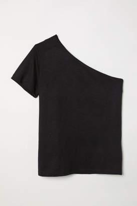 H&M One-shoulder Top - Black