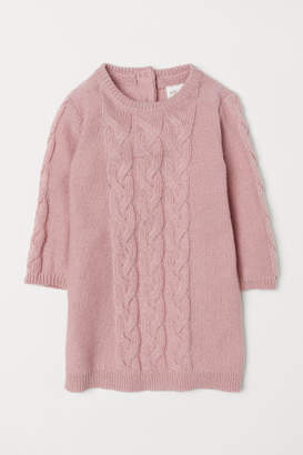 H&M Cable-knit Dress - Pink