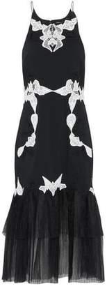 Jonathan Simkhai Plissé Tulle-Paneled Guipure Lace And Crepe Dress