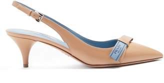 Prada Point-toe leather slingback pumps