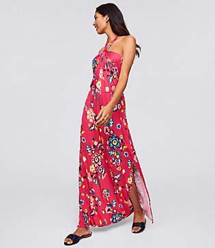 LOFT Beach Floral Twist Halter Maxi Dress