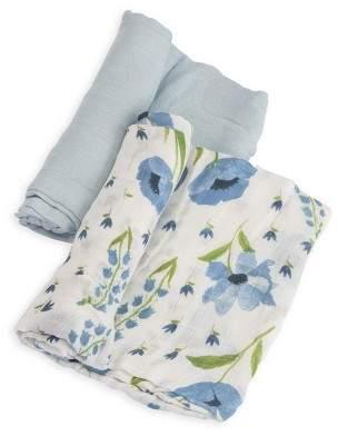 Little Unicorn Deluxe Cotton Muslin Blanket 2pk - Blue Windflower $29.95 thestylecure.com