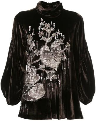 Biyan velvet embroidered blouse
