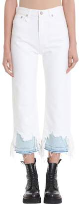 R 13 White Camille Destroyed Jeans