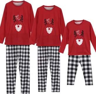 TUSFTAY HO HO HO Christmas Holiday Family Matching Pajamas Set Plaid PJs  Set (L effce87e8