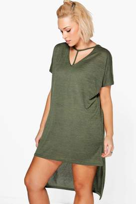 boohoo Plus Strap Detail Dip Hem Tunic Dress