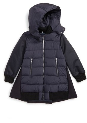 Girl's Moncler Blois Mixed Media Down Coat $645 thestylecure.com